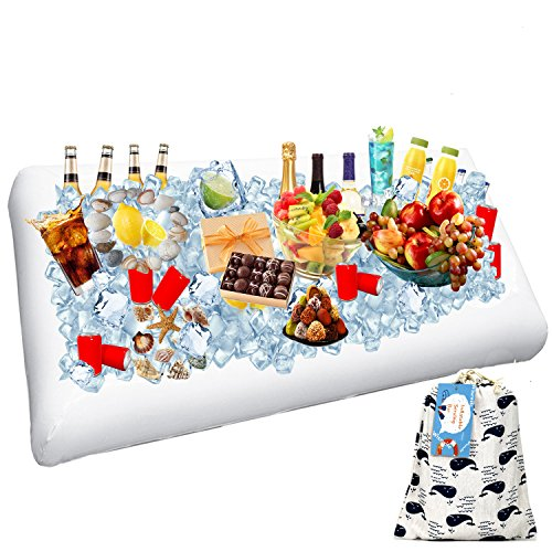 Picnic Party Set - 1 Pack Inflatable Salad Bar Buffet Ice Cooler Beverage Serving Bar Food Drink Holder for Party Picnic BBQ Luau with Drain Plug by Wisewife