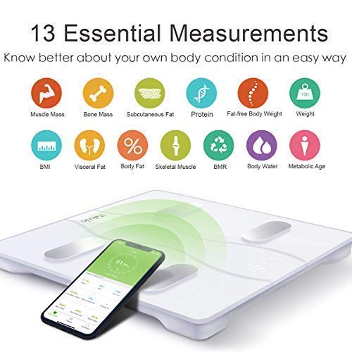 iTeknic Bluetooth Body Fat Scale, 13 Health Measurements FDA Approved Digital Wireless Bathroom Fitness Composition Analyzer with Smart APP for Body Weight, Fat, Water, Muscle Bone Mass, BMI, BMR, Visceral Fat, Protein, Metabolic age etc.