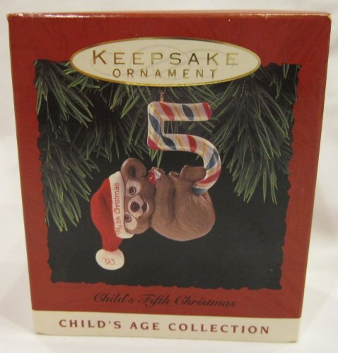 1 X Hallmark 1993 Child's Fifth Christmas Keepsake Ornament ()