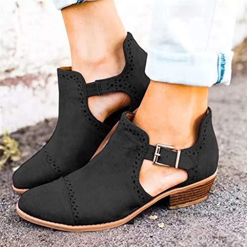 Tacchi Con Stivali Quadrato Alti tacco Scarpe Black Spesso Cavo Singolo Tacco Sandali Donna Primavera Fibbia Aq44SPx