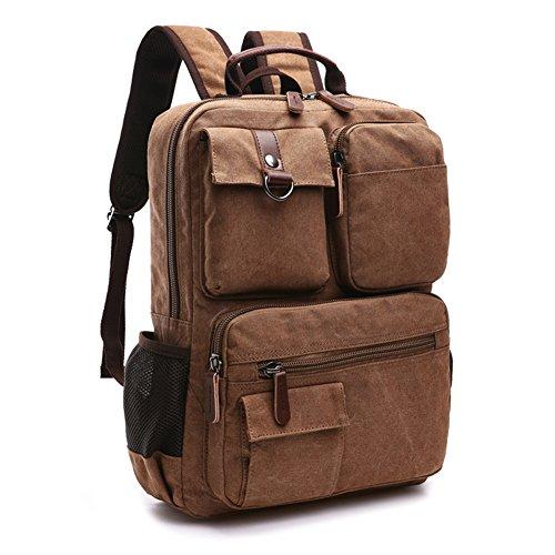 Vintage Canvas Laptop Backpack School College Rucksack Bag (Coffee) - 7