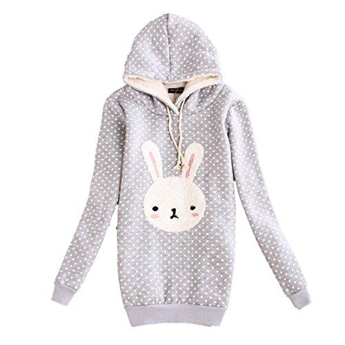 [CA Fashion Women's Cartoon Rabbit Polk Dot Pullover Hoodie Sweat Outerwear (M, Grey)] (Ca Women Women Hoodies)