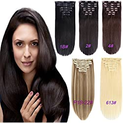 """FASHION LINE 7 Pieces 20 Clips In On Hair Extensions Silicone Triple Weft Clip On In HairPieces Synthetic Straight Body Curly Deep Wave Wavy (20"""" Straight, 2 Dark Brown)"""