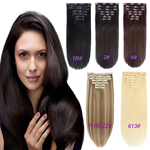 FASHION LINE Synthetic Clip in Hair Extensions Double Weft Full Head Straight/Body Wave/Deep Wave 7 Pieces(20 Straight, 2 Dark Brown)