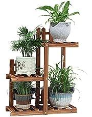 Balcony Shelves Flower Shelves Plant Shelves Indoor and Outdoor Plant Shelves Wooden Flower Shelf Movable Flower Shelf Living Room Flower Pot Shelf (Color : Full Color, Size : 51 * 20 * 65cm)