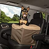 PetSafe Happy Ride Dog Safety Seat - Pet Booster Seat for Cars, Trucks and SUVs - Included Seat Belt Tether - Durable Liner is Machine Washable and Easy to Clean - Brown