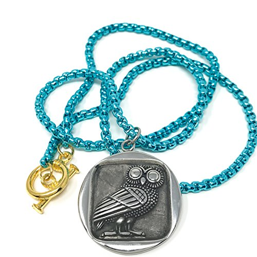 Nonesuch Creations Owl of Athena pendant on fluorescent turquoise necklace (Silver) (Pendant Medium Fluorescent)