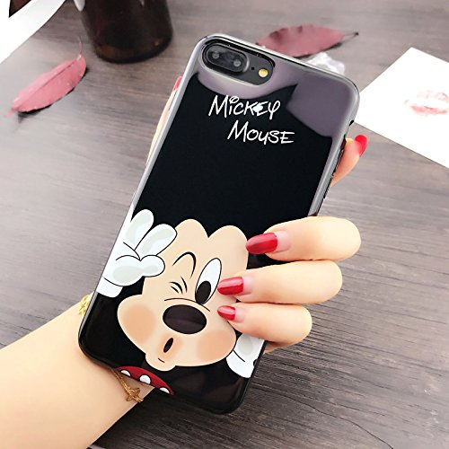 Ultra Slim Fit Shiny Smooth Soft TPU Black Mickey Mouse Case for iPhone 7+ 7Plus 8Plus Large Size 5.5 Screen Sleek Cartoon Protective Cool Fun Cute Lovely Fashion Gift Girls Teens Kids Boys