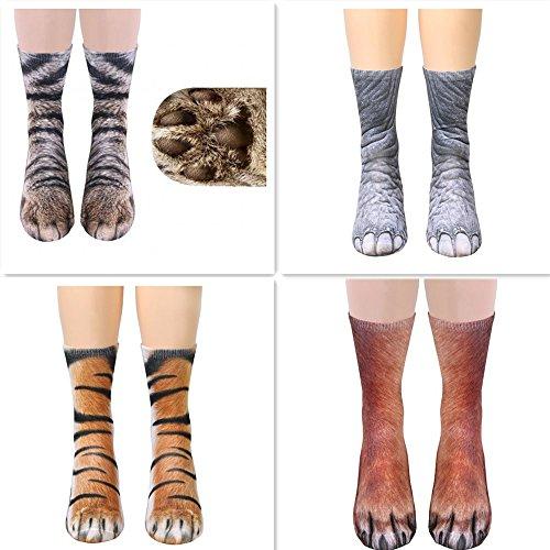 Unisex Funky Socks Hosamtel Animal Paw 3D Printing Sublimated All Over Crew Socks for Man Women Girl Boy (4 Socks)