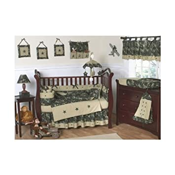 amazon com green army camo crib bedding set (9 piece) baby