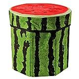 TOOGOO(R) Folding Storage Organizer Ottoman Stool, Cute 3D Creative Fruit Velvet Children Toy Storage Box, Footstool Seat (watermelon)