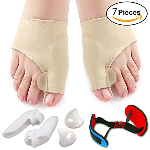 Bunion Corrector & Bunion Relief Protector Sleeves Kit for Men Women,Treat Pain in Hallux Valgus, Big Toe Joint, Hammer Toe, Toe Separators Spacers Straighteners Splint- 7 Pcs by H-Brotaco