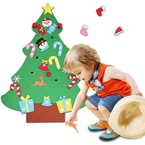 Anferstore 3.2ft DIY Felt Christmas Tree Set with Handmade 26pcs Ornaments for Kids,Xmas Gifts,Door Wall Hanging