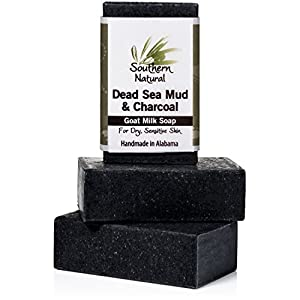 Activated Charcoal Soap Bars With Dead Sea Mud - For Acne, Psoriasis & Eczema. All Natural Face Cleanser & Body Soap. Made With Goat Milk & Pure Essential Oils. For Men, Women & Teens. 3 Bar Pack