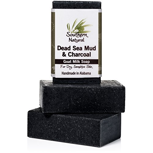 Activated Charcoal Soap Bars With Dead Sea Mud - For Acne, Psoriasis & Eczema. All Natural Face Cleanser & Body Soap. Made With Goat Milk & Peppermint Essential Oil. For Men, Women & Teens. 3 Bar Pack
