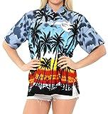 LA LEELA Likre Camp Casual Aloha Beach Collar Shirt Grey 6|XXL - US 44 - 48C