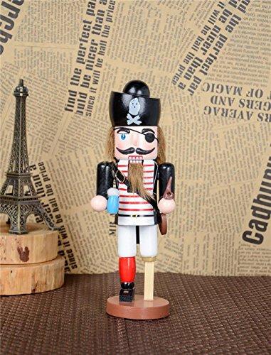 - gelvs 24cm House Table Figure Wood Nutcracker Captain Cop Pirate Theme Puppet Decorative Crafts