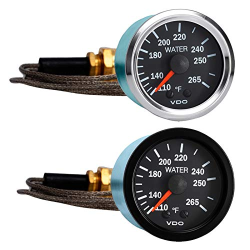 Vdo Instruments Semi Truck Mechanical Water Temperature Gauge with Capillary Vision