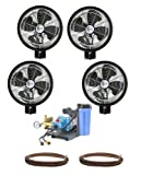 4 HIGH PRESSURE - 18'' Oscillating Misting Fans Wall Mount Mist Kit