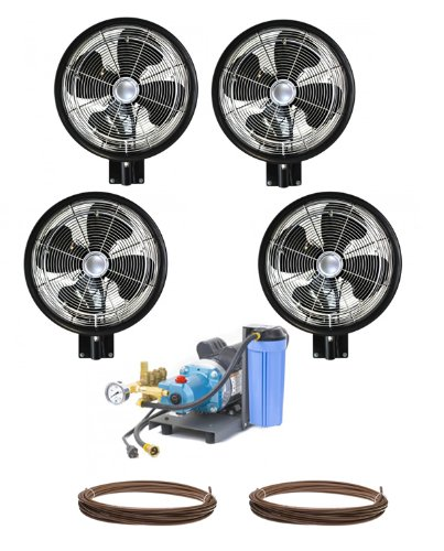 4 HIGH PRESSURE - 18'' Oscillating Misting Fans Wall Mount Mist Kit by Advanced Systems