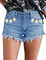 luvamia Women's Mid Rise Shorts Frayed Raw Hem Ripped Denim Jean Shorts