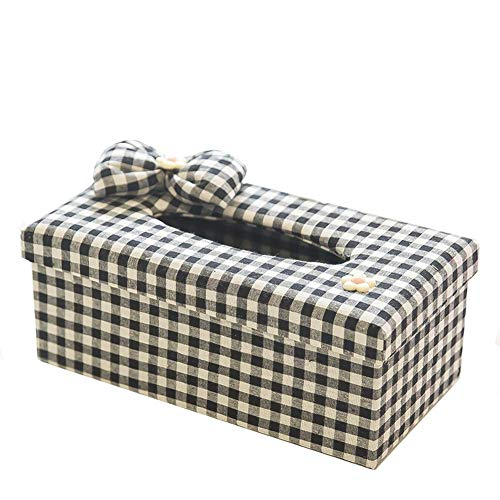 seemehappy Black White Plaid With Bow Fabric Tissue Box Cover,Facial Tissue Box Holder For Bedroom Dresser,Night Stands,Desks and Tables