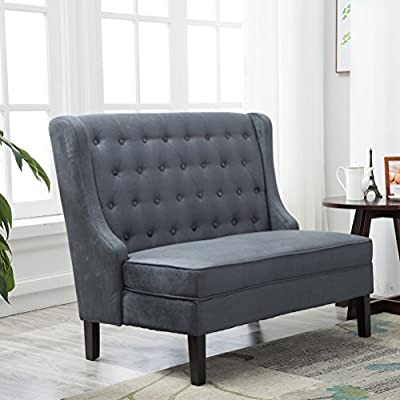 Andeworld Tufted Loveaseat Settee Sofa Bench for Dining Room (Steel Gray) - Tufted loveseat a confident modern attitude in a size that fits dining room living room hallway or entryway seating High density polyurethane foam cushioning make this loveseat a comfortable spot to relax. Upholstered with high quality linen fabric give you a comfortable touch feeling - sofas-couches, living-room-furniture, living-room - 51HZRX7L%2BoL. SS400  -