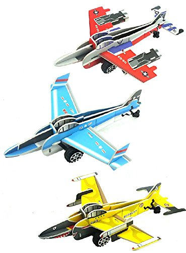 Airplane Party Favors: Set of 3 Pull Back 3D Puzzle Vehicle