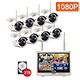 isotect Built-in 12.5-inch Monitor All-in-One CCTV Video Surveillance House Camera Best Wireless Security System, 8pcs 1080p HD IP Cameras with Night Vision Easy Remote Access, 2TB HDD Wifi NVR Kit