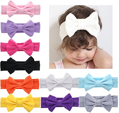 DANMY Baby Girl Nylon Headbands Newborn Infant Toddler Hairbands with Bows Children Hair Accessories (Bow (10pcs)) ()
