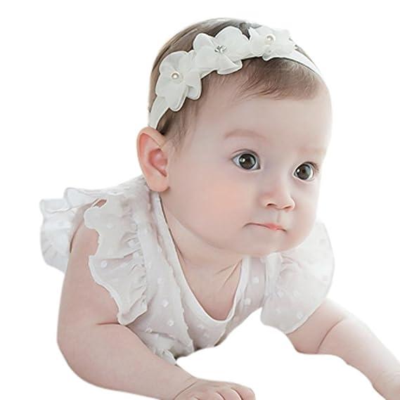 BBsmile diademas bebe niña diademas bebe recien nacidos Perla corona banda para el pelo elasticas cintas de pelo bebe niña bautizo cinta para bebé ...
