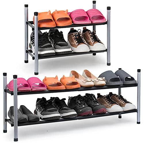 2-Tier Expandable Shoe Rack Stackable Shoe Organizer Adjustable Metal Iron Shoe Shelf, Free standing Storage for Closet Entryway Doorway Bedroom Footwear