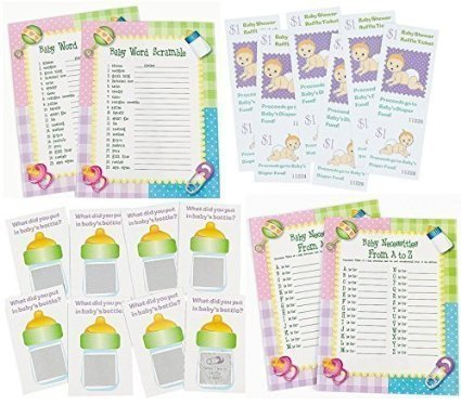 96 pc Baby Shower Game bundle Word scramble Baby Necessities Scratch Tickets Diaper Raffle Fund tickets Enough for 24 guest