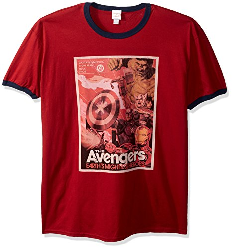 Marvel Official Vintage Poster Men's Fashion Ringer, red/Navy, x-Large -