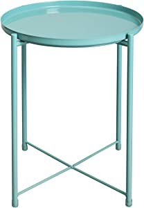 """HollyHOME Tray Metal End Table, Sofa Table Small Round Side Tables, Anti-Rust and Waterproof Outdoor & Indoor Snack Table, Accent Coffee Table,(H) 20.28"""" x(D) 16.38"""", Blue"""