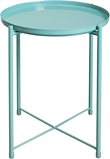 """Amazon.com: HollyHOME Tray Metal End Table, Sofa Table Small Round Side Tables, Anti-Rust And Waterproof Outdoor & Indoor Snack Table, Accent Coffee Table,(H) 20.28"""" X(D) 16.38"""", Blue: Kitchen & Dining"""