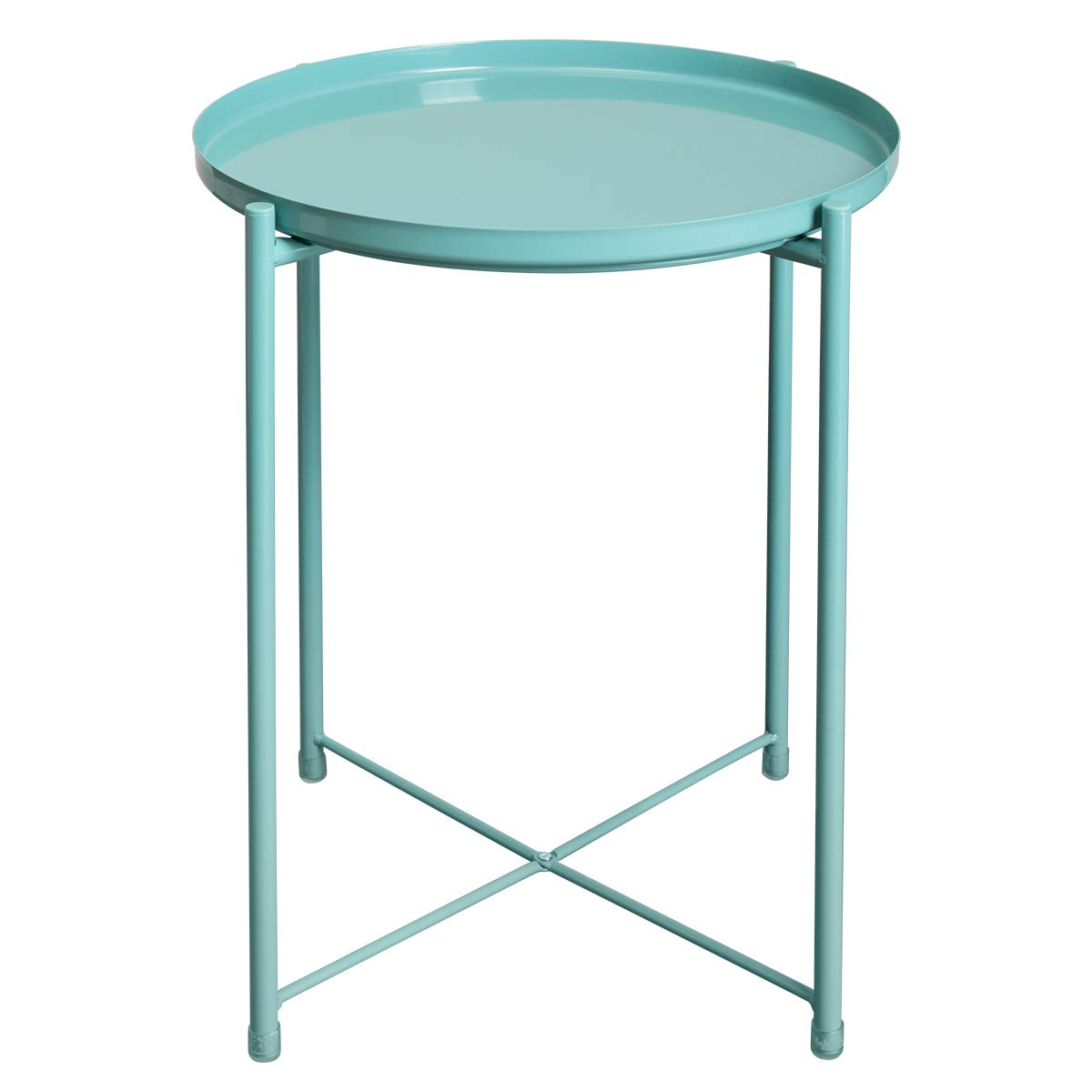 Hollyhome Tray Metal End Table Sofa Table Small Round Side Tables Anti Rust And Waterproof Outdoor Indoor Snack Table Accent Coffee Table H 20 28 X D 16 38 Blue Buy Online In Guernsey At Guernsey Desertcart Com