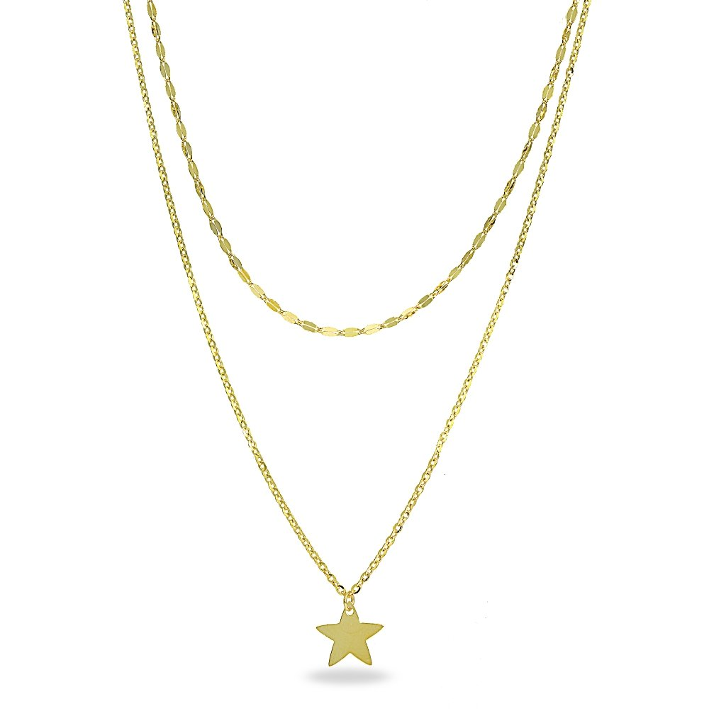 14K Gold Chain Italian Mariner and Link Dangling Star Layered Choker Necklace