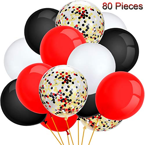 80 Pieces Pirate Party Balloons Set Confetti Balloons Latex Balloons for Birthday Baby Shower Wedding Graduation 4th of July Decorations, 12 Inch (Red, Black, White)
