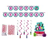 Cedar Crate Market Sparkle Spa Party Supplies Decorations Bundle: Straws, Centerpiece, Ribbon Banner, and Dizzy Danglers