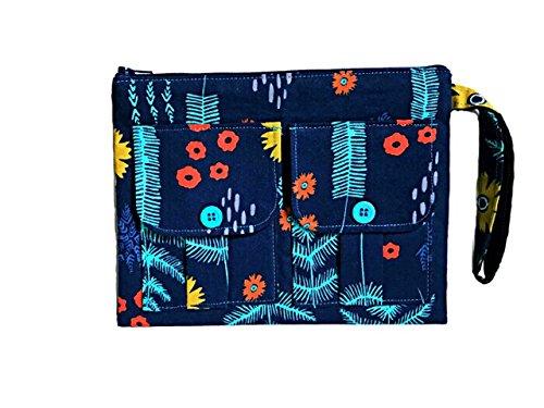 Blue Wristlet, Floral Wristlet Wallet, iPhone Wristlet, Wristlet Purse, Clutch Wristlet