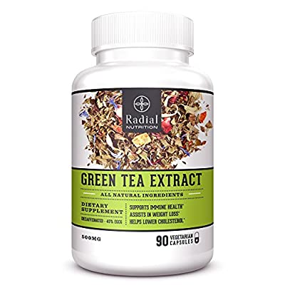 Green Tea Extract EGCG Vegetarian Supplement with Advanced Antioxidants - Vegan Capsules Aids in Natural Weight Loss, Heart Health - Boost Metabolism and Energy - Decaffeinated - 90 Pills