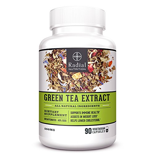 Green Tea Extract EGCG Vegetarian Supplement with Advanced Antioxidants – Vegan Capsules Aids in Natural Weight Loss - Heart Health - Boost Metabolism and Energy – Decaffeinated – 90 Pills