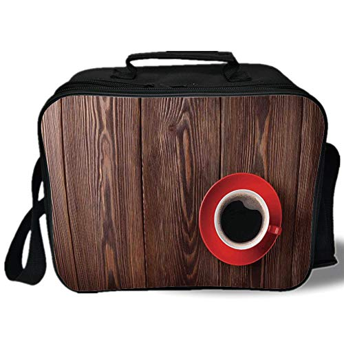 Modern 3D Print Insulated Lunch Bag,Fresh Coffee in Mug Cafe Art Image on Rustic Wooden Background Beans Kitchenware Design Decorative,for Work/School/Picnic,Brown Red
