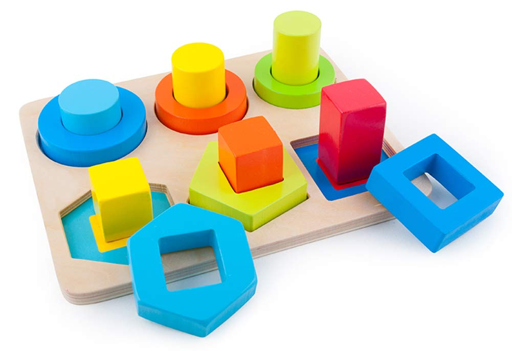 May & Z Geometric Shape Sorter for Block Puzzle Games and Sorting Board for Preschool Toddlers