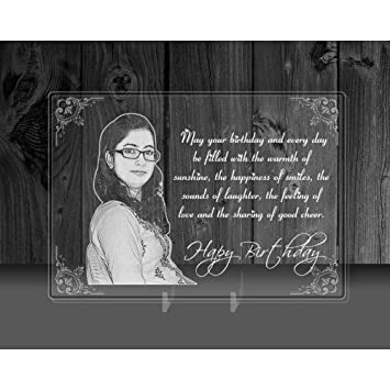 Buy Incredible Gifts India Personalized Photo And Message On A Glass Gift For Girlfriend Birthday 7 X 5 Inches Acrylic Transparent Online At Low Prices In India Amazon In