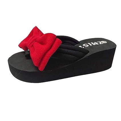 4f96765cb9b98 Amazon.com  Summer Wedge Slides Slippers For Women Sandals Beach ...