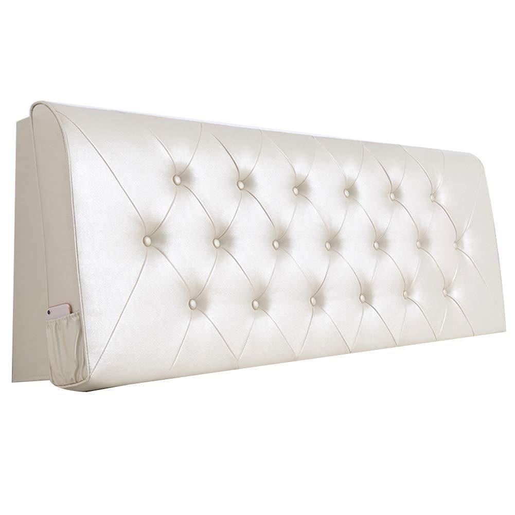 ベッドサイドクッションマットレスクッション背もたれホワイトピローマットレスソフトソファソファ。ヘッドレスト枕クッション、PUソフトパックホームベッドルームクッション、2スタイル、8枚(色:B白、大、180cm) (色 : A-white, サイズ さいず : 200cm) B07RSZLMVB A-white 200cm