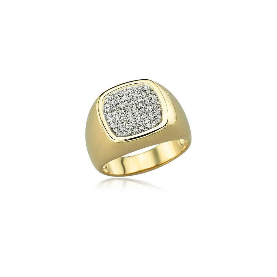 14K YELLOW GOLD Diamond Mens Ring Diamond quality A (I1 I2 clarity, H I color)