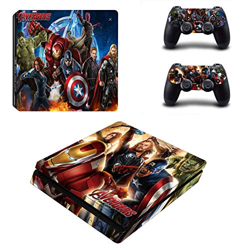okanhyeu PS4 Slim Whole Body Vinyl Skin Sticker Decal Cover for Playstation 4 System Console and Controllers - Super hero